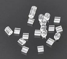 Силиконовые заглушки для пусет 3х3 мм белые прямоугольные для рукоделия