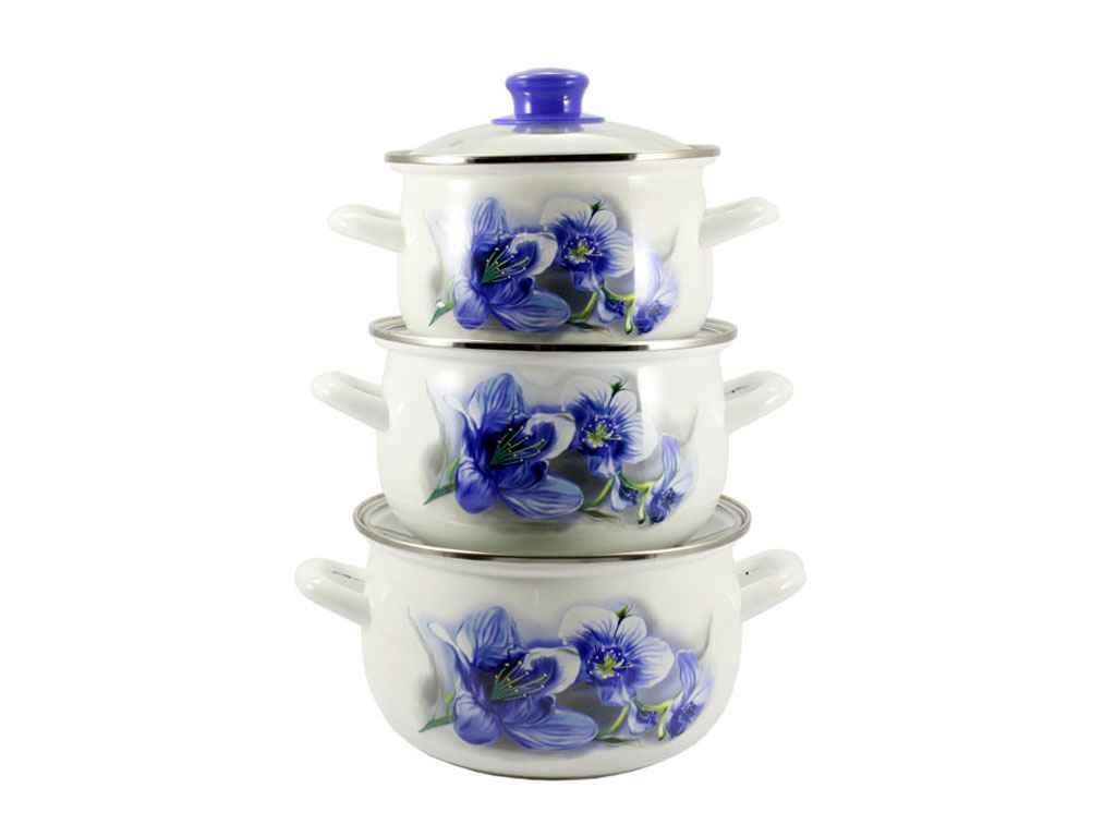 Набор эмалированной посуды 3 предмета Zauberg Орхидея голубая (10/L)
