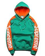 Худи спортивный с логотипом зелёно-оранжевый мужской женский кофта с капюшоном кенгуру
