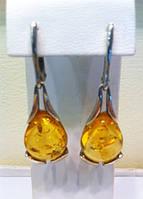 Серебряные серьги с янтарем 3316