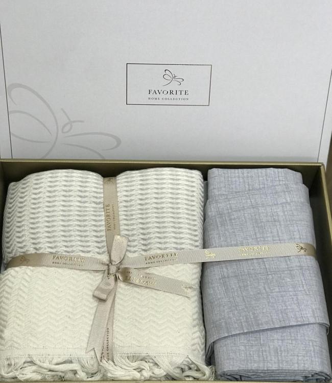 Комплект постельного белья Favorite Armani Пике Евро лен с покрывалом арт.ts-02144