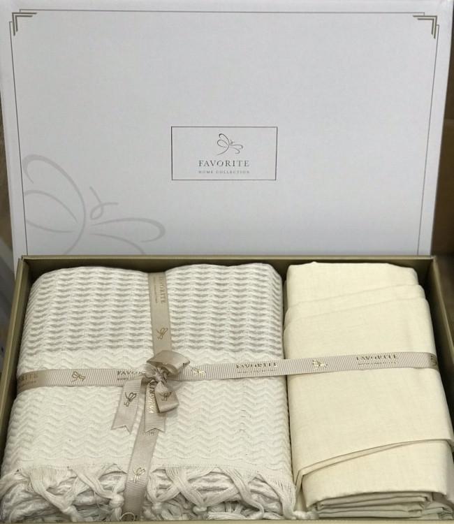 Комплект постельного белья Favorite Armani Пике Евро лен с покрывалом арт.ts-02147