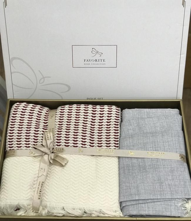Комплект постельного белья Favorite Armani Пике Евро лен с покрывалом арт.ts-02143