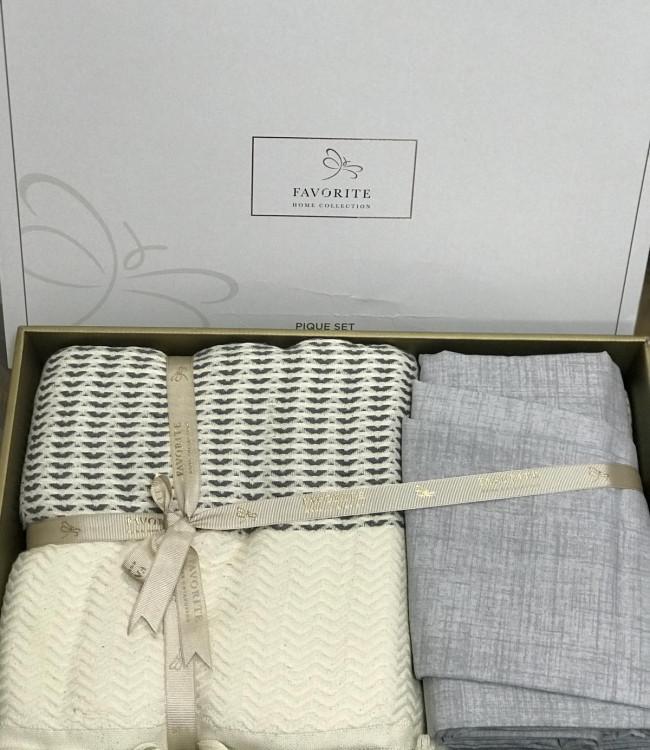 Комплект постельного белья Favorite Armani Пике Евро лен с покрывалом арт.ts-02145