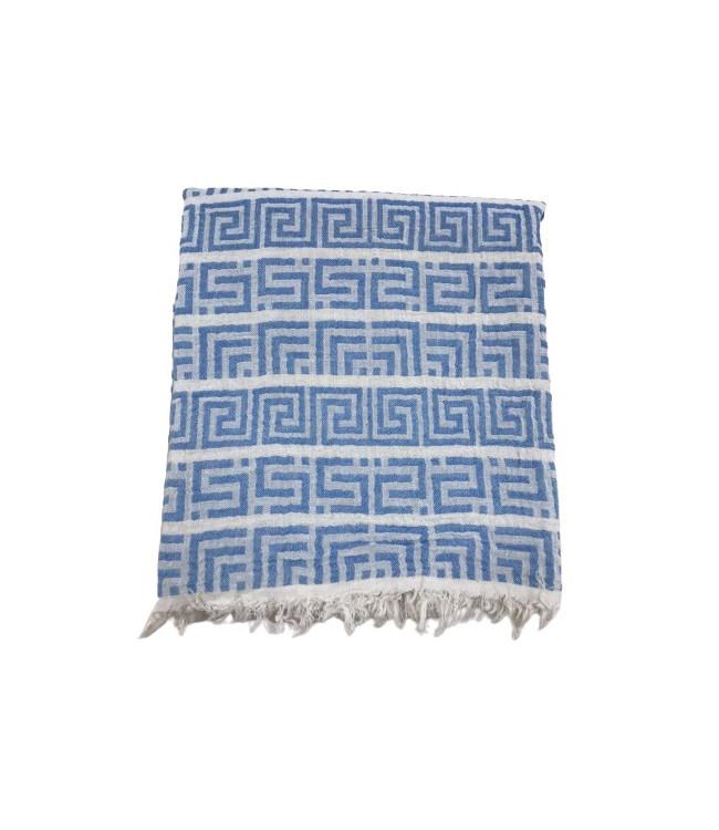 Полотенце-пештемаль пляжное Gold Soft Life Меандр 100*180 см голубое арт.ts-02309