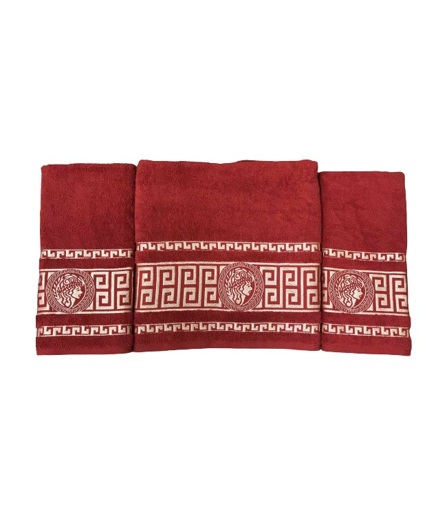 Набір рушників для обличчя і тіла Gold Soft Life Версаче 2х50*90 см + 70*140 см махрові банні в коробці червоний арт.ts-02171
