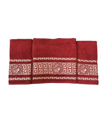 Набір рушників для обличчя і тіла Gold Soft Life Версаче 2х50*90 см + 70*140 см махрові банні в коробці червоний арт.ts-02171, фото 2