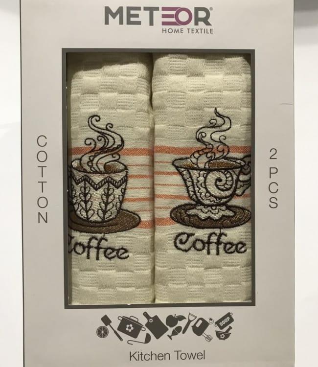 Набір рушників для кухні Meteor Coffee V01 40*60 см вафельні в коробці 2шт арт.ts-01436