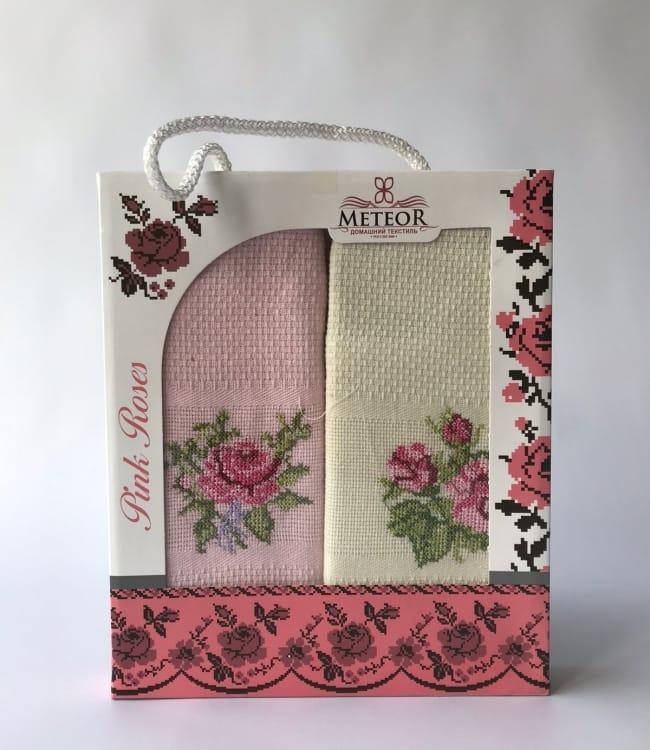 Набор полотенец для кухни Meteor Pink Roses 40*60 см вафельные в коробке 2шт арт.ts-6001025