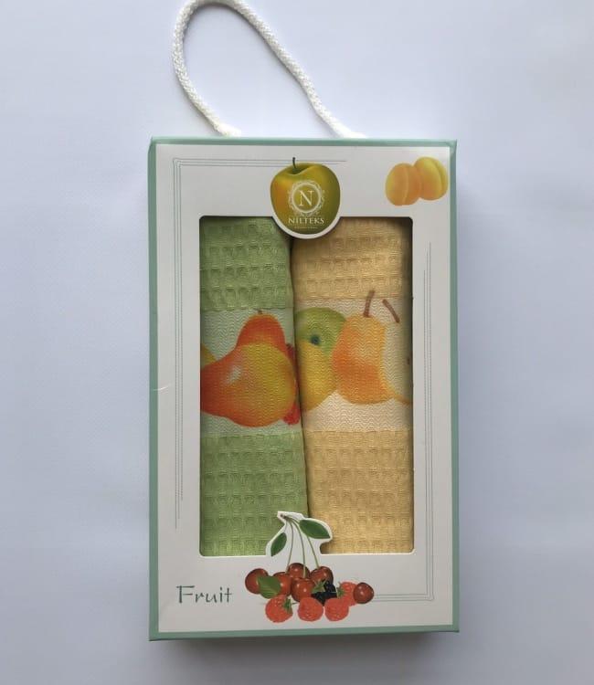 Набор полотенец для кухни Nilteks Fruits 40*60 см вафельные в коробке 2шт арт.ts-6001413