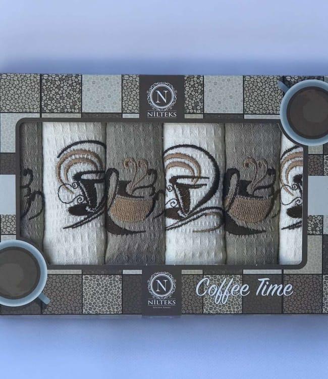 Набор полотенец для кухни Nilteks Coffee Time V04 40*60 см вафельные в коробке 6шт арт.ts-01890