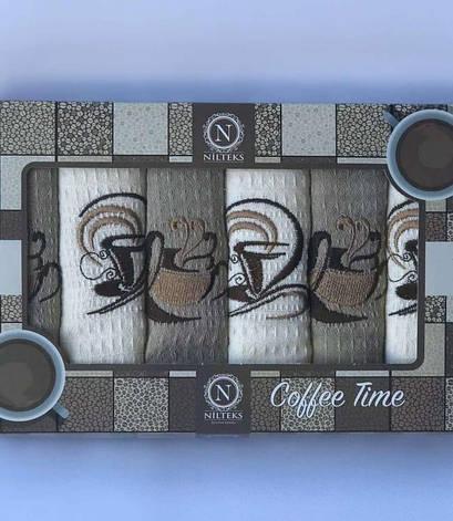 Набор полотенец для кухни Nilteks Coffee Time V04 40*60 см вафельные в коробке 6шт арт.ts-01890, фото 2
