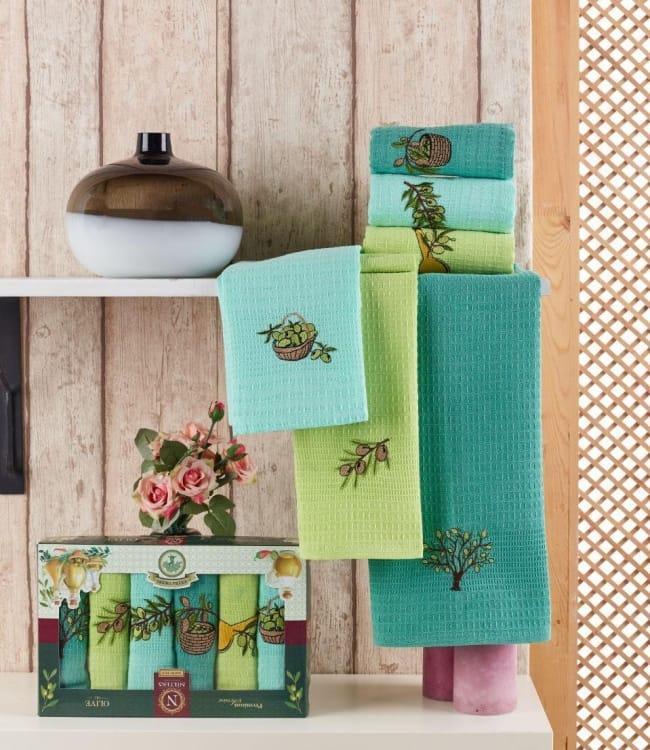 Набор полотенец для кухни Nilteks Extra Virgin 40*60 см вафельные в коробке 6шт арт.ts-01431