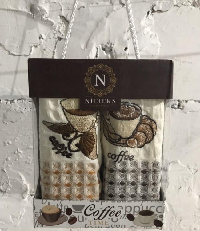 Набор полотенец для кухни Nilteks Time Coffee V01 40*60 см вафельные в коробке 2шт арт.ts-01444