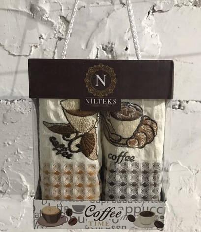 Набор полотенец для кухни Nilteks Time Coffee V01 40*60 см вафельные в коробке 2шт арт.ts-01444, фото 2