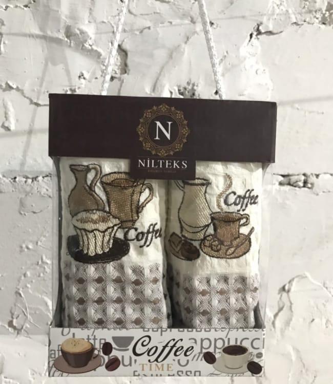 Набір рушників для кухні Nilteks Coffee Time V02 40*60 см вафельні в коробці 2шт арт.ts-01445