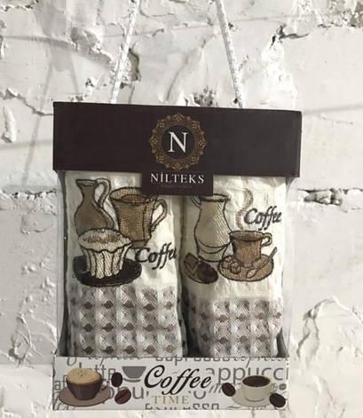 Набір рушників для кухні Nilteks Coffee Time V02 40*60 см вафельні в коробці 2шт арт.ts-01445, фото 2