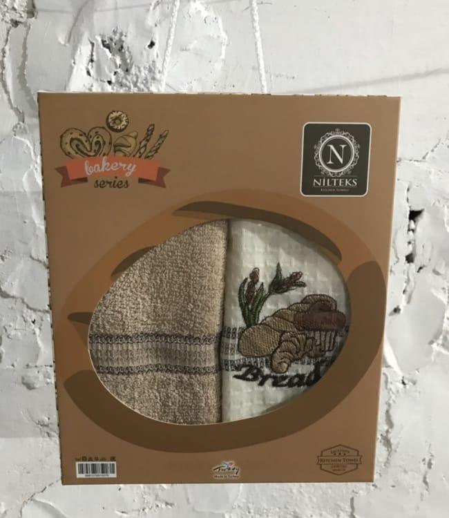 Набір рушників для кухні Nilteks Bakery Series 40*60 см вафельні в коробці 2шт арт.ts-01456