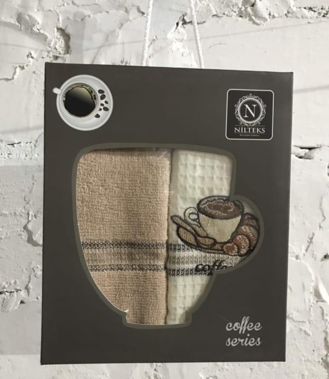 Набор полотенец для кухни Nilteks Coffee Series 40*60 см вафельные в коробке 2шт арт.ts-01457