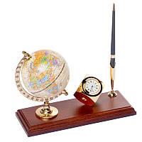 Подставка на стол руководителя BST 540061 24х10 деревянная для ручки с часами и глобусом