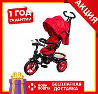 Дитячий триколісний велосипед Neo 4 КR Air з фарою червоний | Велосипед коляска