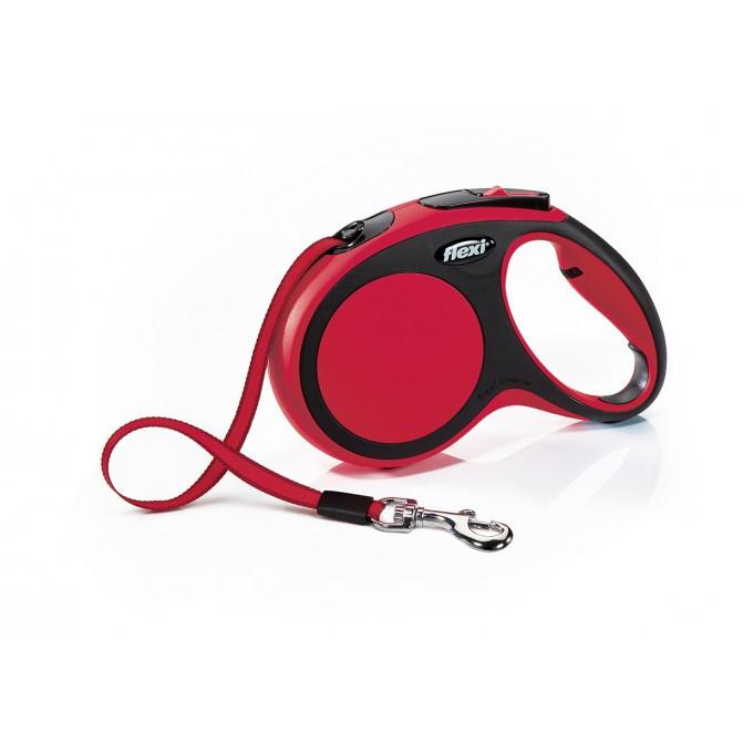Повідець рулетка ФЛЕКСІ FLEXI New Comfort M, для собак вагою до 25 кг, стрічка 5 метрів, колір червоний