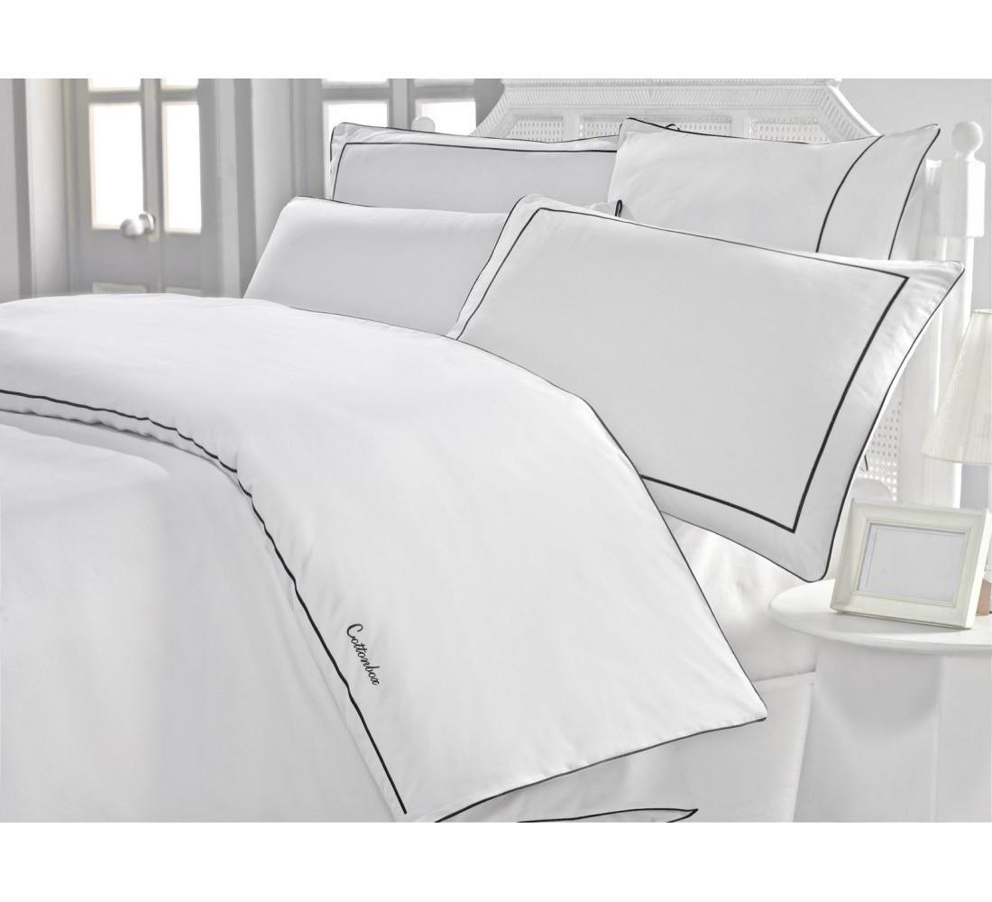 Постельный комплект белый евро Classic Hermanus Home поплин 200*220