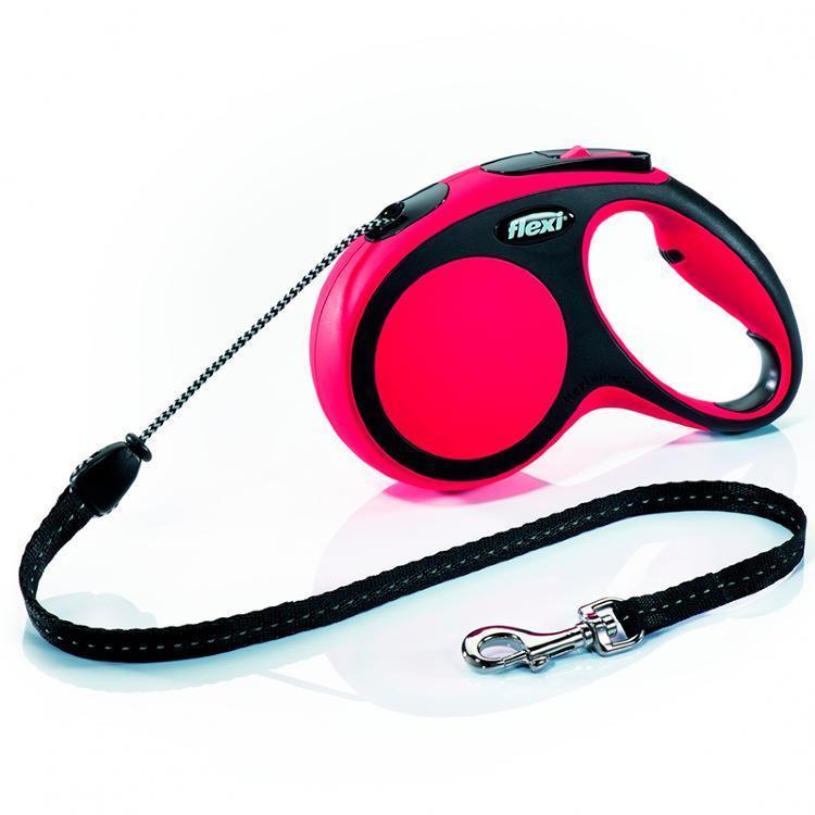 Поводок рулетка ФЛЕКСИ FLEXI New Comfort S, для собак весом до 12 кг, трос 5 метров, цвет красный