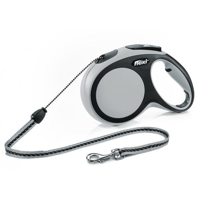 Поводок рулетка ФЛЕКСИ FLEXI New Comfort S, для собак весом до 12 кг, трос 5 метров, цвет серый