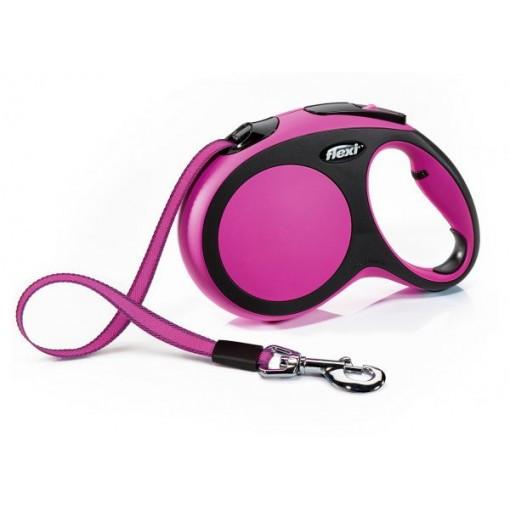 Поводок рулетка ФЛЕКСИ FLEXI New Comfort S, для собак весом до 15 кг, лента 5 метров, цвет розовый