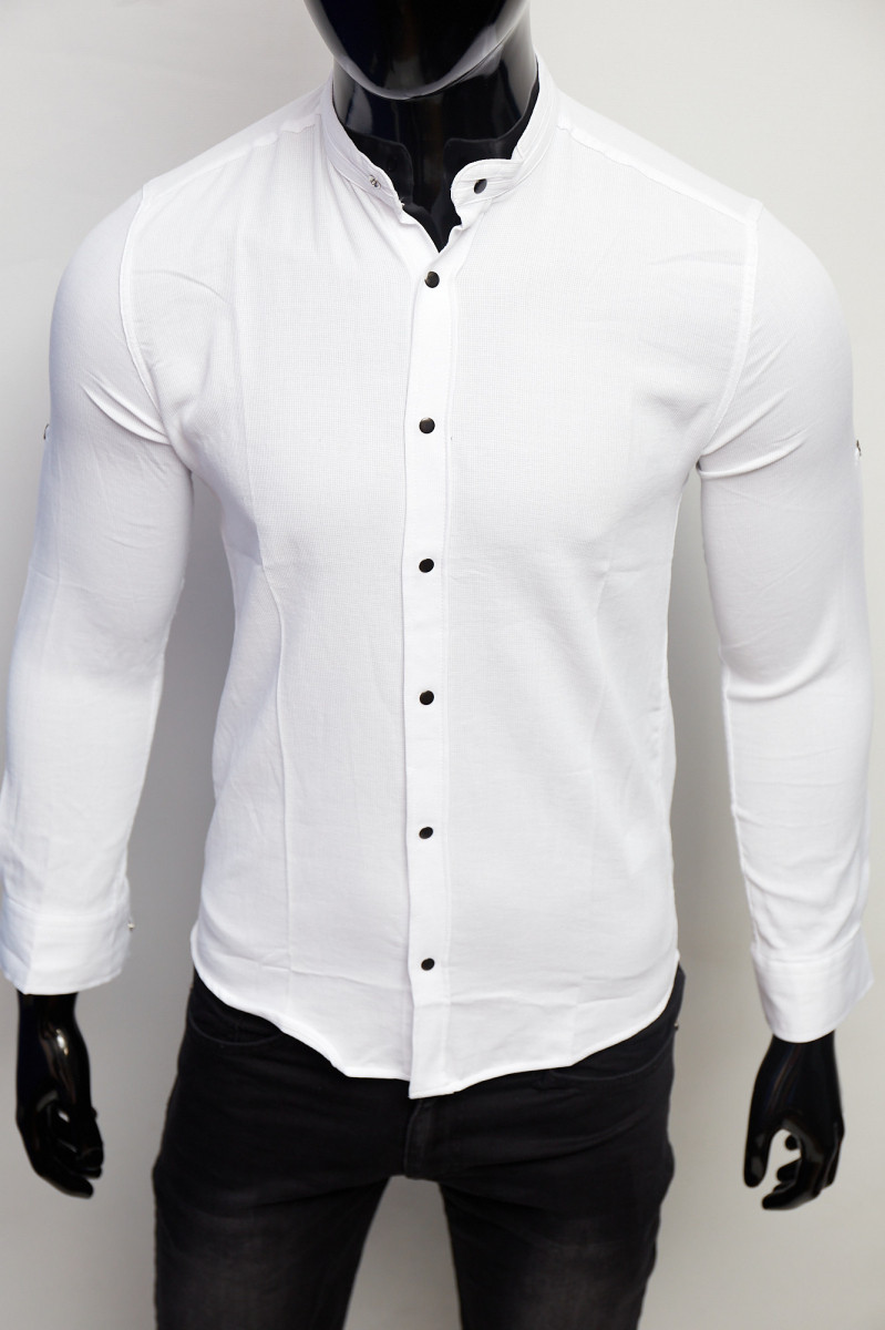 Рубашка котоновая Figo 7088 стойка белая