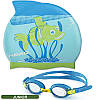 Комплект для плавания Head Meteor Character очки + шапочка, сине-зелёный