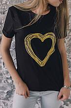Женская футболка, коттон, р-р универсальный 42-46 (чёрный)