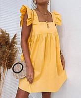 Женский хлопковый сарафан с рюшами мини в размере S-M, L-XL белый, желтый, черный, красный