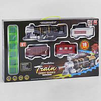 Железная дорога 3377 (12) поезд со звуком, светом прожектора и дымом, 16 деталей, в коробке