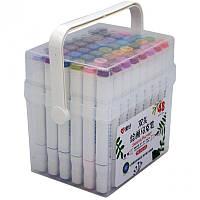 """Набор двухсторонних скетч маркеров на водной основе """"Aihao"""" AH-PM508-48, 48 штук в пластиковом пенале, фото 1"""
