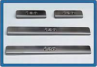 Hyundai I-20 2008-2012 гг. Накладки на пороги OmsaLine (4 шт, нерж.)