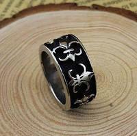 Кольцо мужское Лилии (сталь)