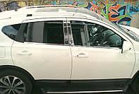 Nissan Qashqai 2010-2014 гг. Хром дверных стоек (4 шт, нерж) OmsaLine - Итальянская нержавейка