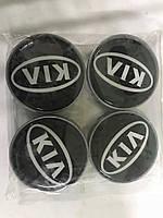 Колпачки в титановые диски KIA 55мм V1 черные силикон (4 шт)