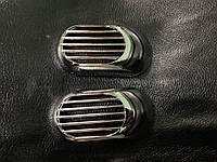 Mitsubishi Lancer X 2008↗ гг. Решетка на повторитель `Овал` (2 шт, ABS)