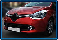 Renault Clio IV 2012-2019 гг. Накладки на решетку радатора OmsaLine (2 шт, нерж.) Хром