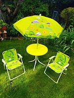 Набор мебели для пикника детский, складной стол, 2 кресла, зонтик