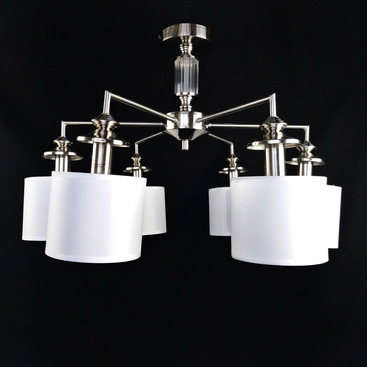 Люстра потолочная на шесть лампочек белыми тканевыми плафонами 29-S317/6 SN+WT