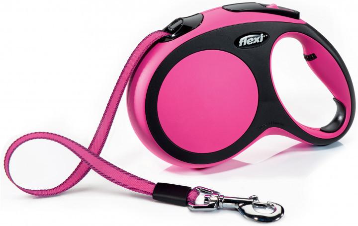 Поводок рулетка ФЛЕКСИ FLEXI New Comfort L, для собак весом до 60 кг, лента 5 метров, цвет розовый