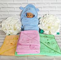 Детское махровое полотенце с капюшоном уголок для купания 90х90 см