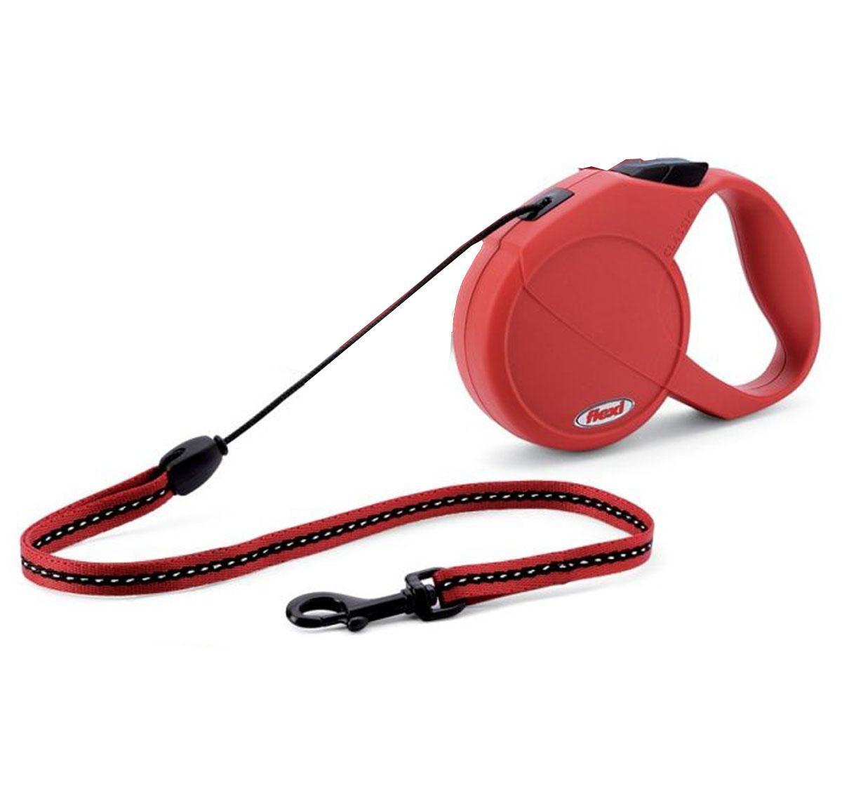 Повідець рулетка ФЛЕКСІ FLEXI Classic M, для собак вагою до 20 кг, трос 5 метрів, колір червоний