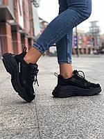 Кроссовки Balenciaga Triple S Black \ Баленсиага Трипл С Черные \ Кросівки Баленсіага Тріпл С Чорні