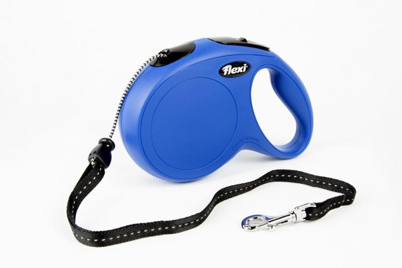 Поводок рулетка ФЛЕКСИ FLEXI Classic M, для собак весом до 20 кг, трос 8 метров, цвет синий