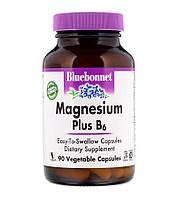 Магний + В6, Magnesium + B6, Bluebonnet Nutrition, 400mg/25mg 90 caps биодобавка, фото 1